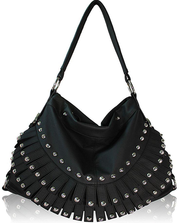 Black Studded Hobo Roomy Handbag