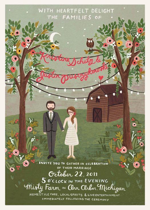 Kristine's amazing wedding invitations, designed by Rifle.
