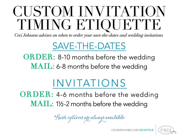 134 best ceci creative tips images on pinterest bridal invitations custom invitation timing etiquette ceci johnson advises on when to order your save the stopboris Gallery