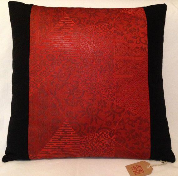 Vintage Japanese Silk Obi Panel Cushion Cover  Orange / by Setsuri