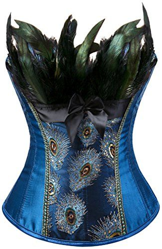 5ccd4189908 Pandolah Women Peacock Feather Style Sexy Lace up Corset Bustier Gothic  Clubwear