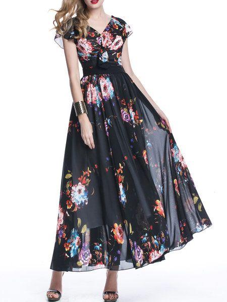 Shop Maxi Dresses - Black Floral-print Swing Casual Maxi Dress online. Discover unique designers fashion at StyleWe.com.