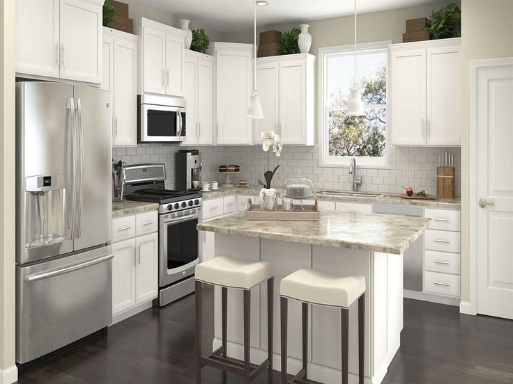 Transitional Kitchen with Rittenhouse Square White 12 in. x 12 in. x 8 mm Ceramic Mosaic Tile, Breakfast bar, L-shaped