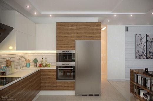 """Дизайн кухни-гостиной в современном стиле в ЖК """"Династия"""". Гостиная"""