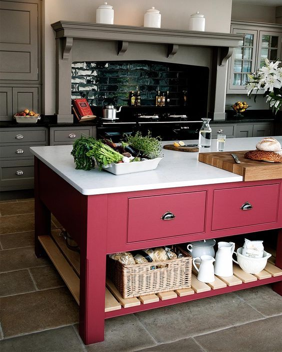 Contemporary grey kitchen with dark red island