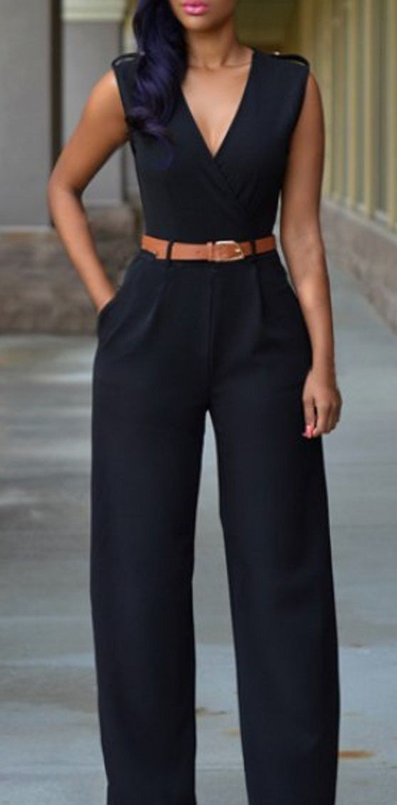 OL Style V-Neck Sleeveless Solid Color Jumpsuit For Women