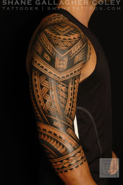 Maori Polynesian upper arm & shoulder tattoo