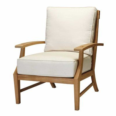 Summer Classics Croquet Teak Lounge Patio Chair with Cushions Frame Color: Weathered Teak, Cushion Color: Cast Dove