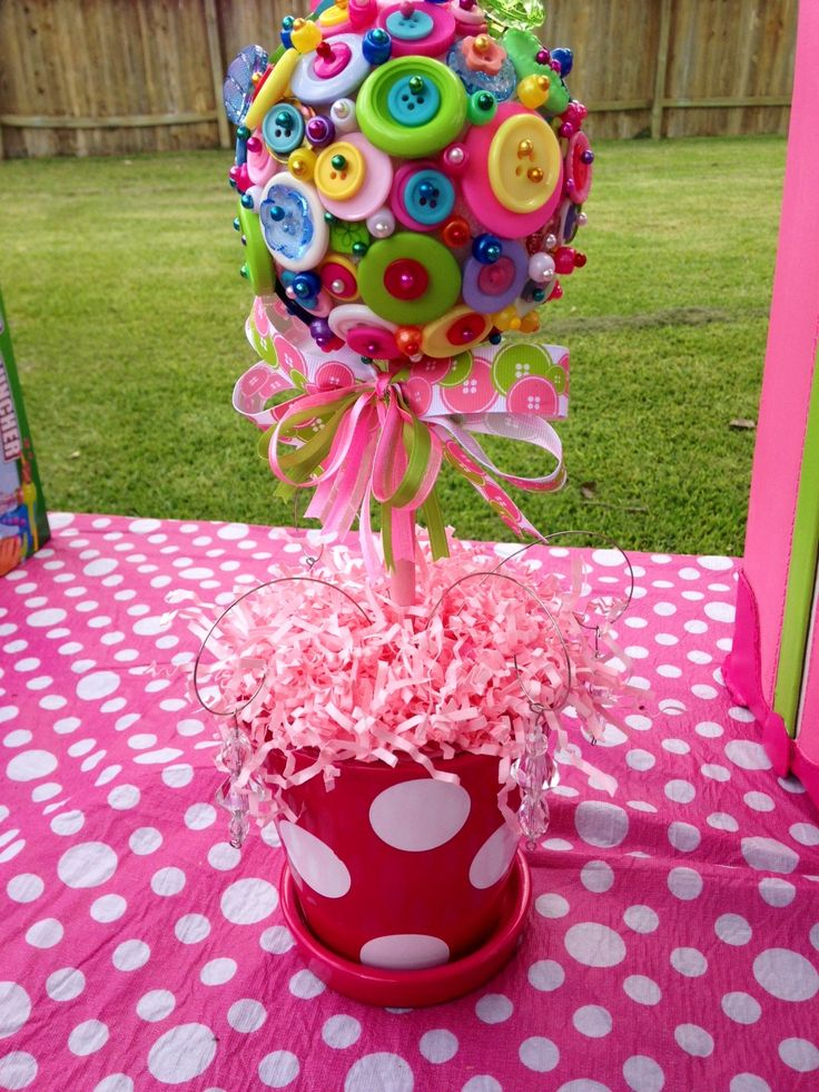 """Button topiaries I did for a """"Cute as a Button"""" themed birthday party"""
