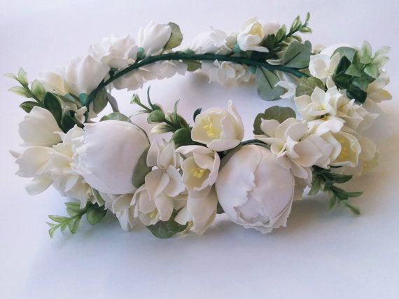 Bridal flower crown, Flower head wreath, White peonies, Freesia and Hydrangeas, White flower crown, Wreath on the head, Wedding flower crown