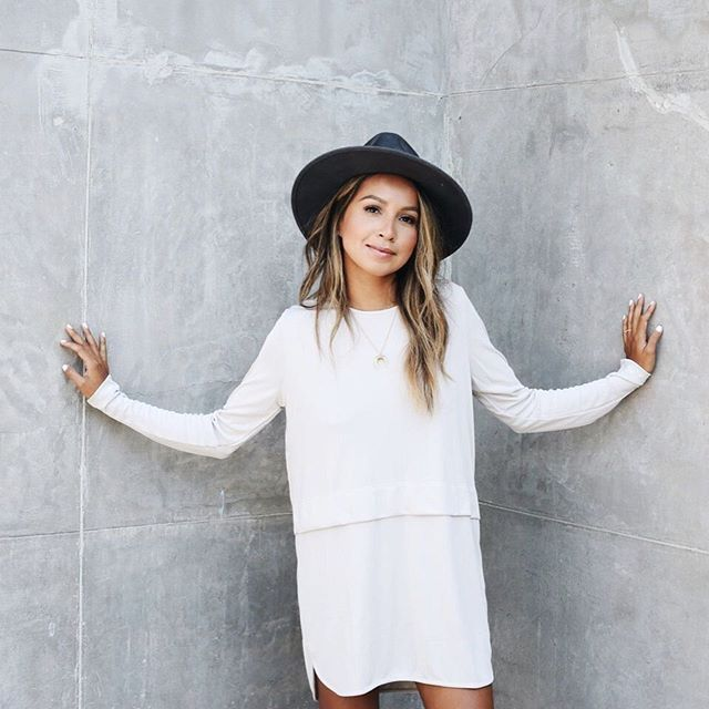 white dress + hat