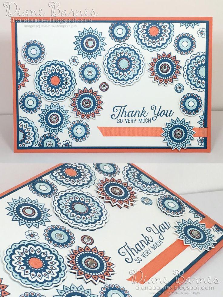 handmade thank you card using Stampin Up Paisleys & Posies stamp & die…