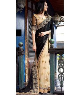 Cute Black And Cream Georgette Saree.