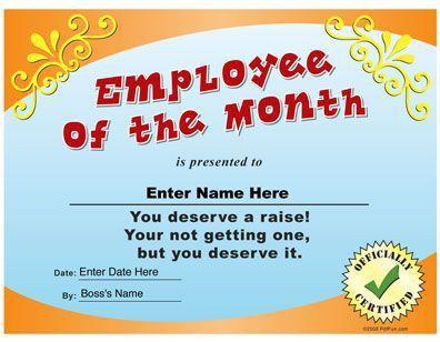26 best funny certs images on pinterest employee awards award Pinterest #SampleResume #FreeEmployeeOfTheMonthCertificateTemplate