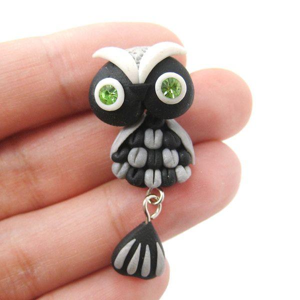 handmade-owl-bird-fake-gauge-two-part-polymer-clay-stud-earring-in-black_grande
