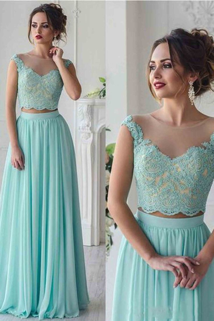 Beautiful blue green lace chiffon two pieces prom dress, evening gown, prom dresses 2017