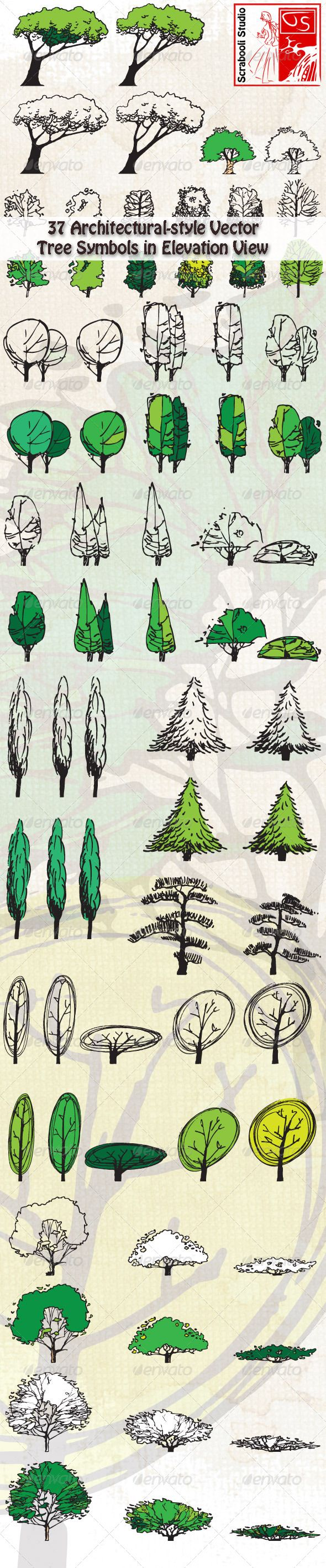 37 Vector Trees in Elevation View