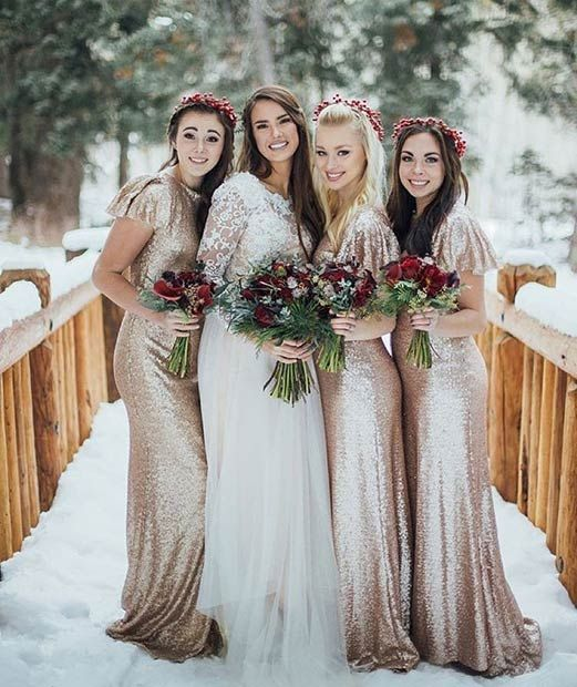 9c7bd0b47f1f2 Gold Sequin Bridesmaid Dresses For A Winter Wedding Christmasweddingideas