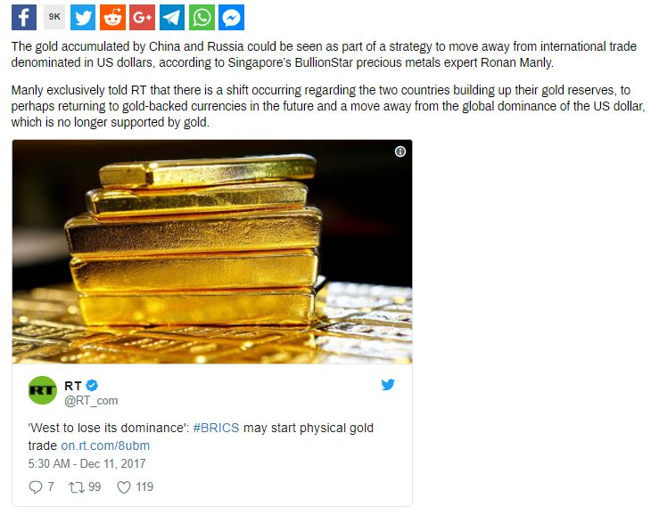 As the Russian and Chinese central banks continue to actively accumulate gold reserves, Russian and Chinese media take a keen interest in US gold reserves