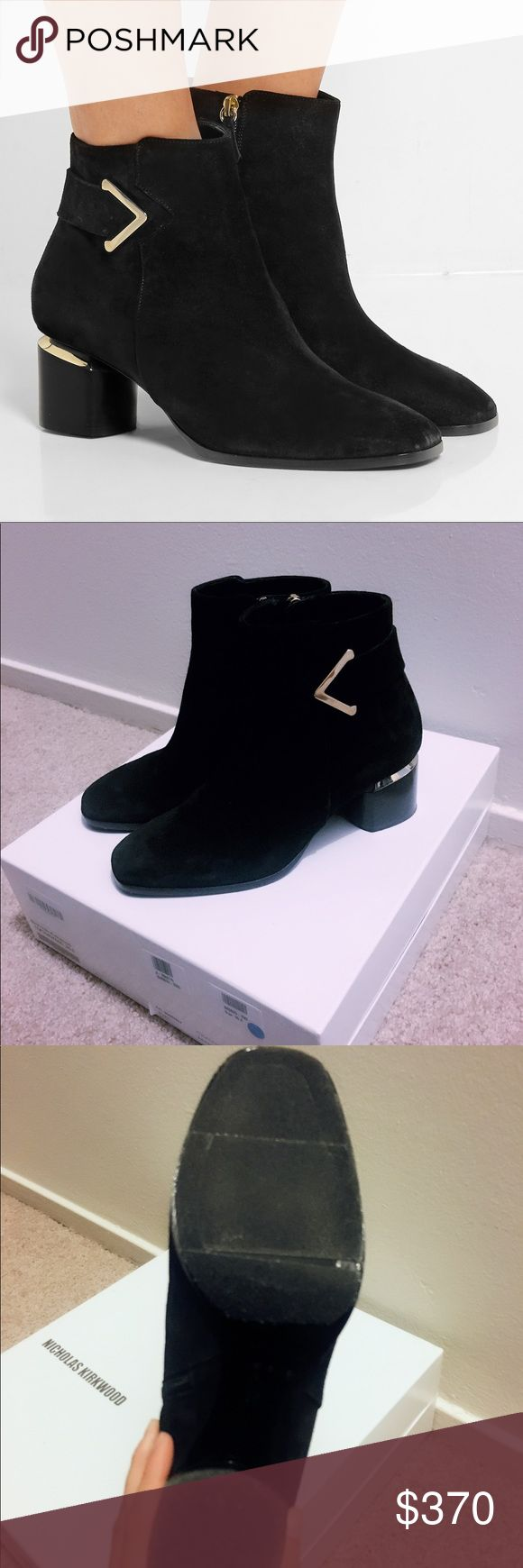 Nicholas kirkwood brannagh bootie Black suede, with sole protector, worn once Nicholas Kirkwood Shoes Ankle Boots & Booties