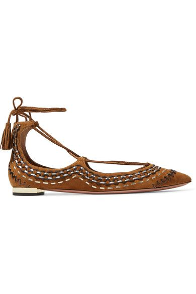 Aquazzura - Christy Folk Embroidered Suede Point Toe Flats - Tan - IT39