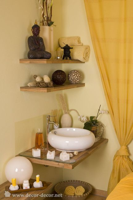 Corner shelves feng shui decorating pinterest love this sinks and corner shelves Bathroom design spa look