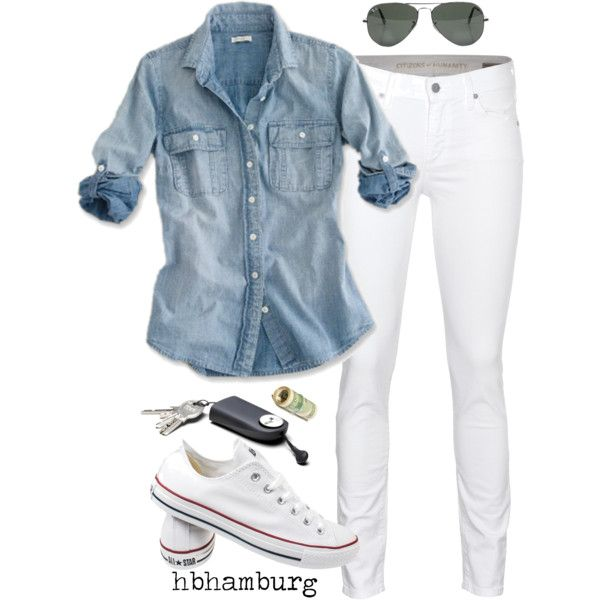 No. 213 - Grap your keys ..and out of the door by hbhamburg on Polyvore featuring Citizens of Humanity, Converse, Ray-Ban and J.Crew