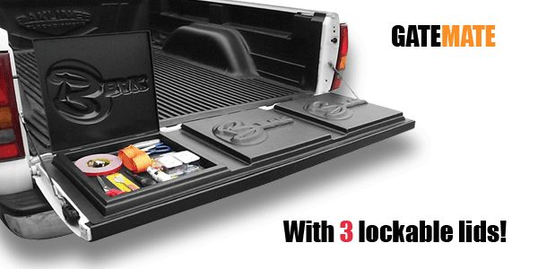 "Truck Bed Storage | Organize your ""BAK"" with GateMate tailgate storage bins."