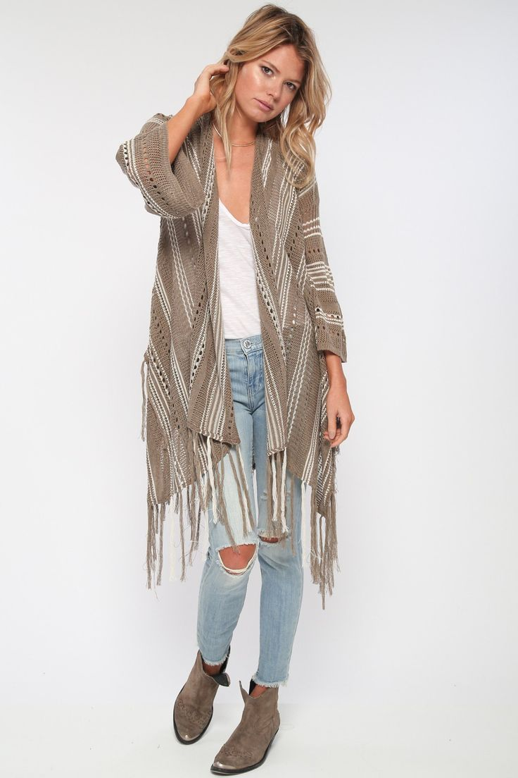 Catalina Sheer Sweater w/ Fringe in Canyon Mist