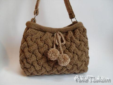 AlkoTaskaim - Kötött táska rusztikus rácsmintával, Meska #fall #winter #bag #knit #knitting