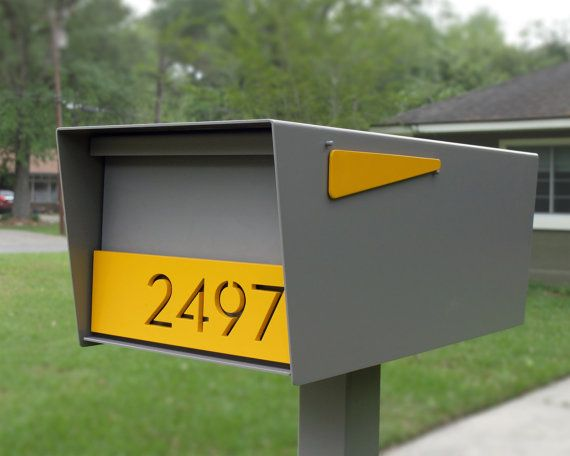 Modern post-mounted mailbox (LOCKING) and custom house numbers. Powder coated in your choice of 4 colors, or sandblasted to facilitate a