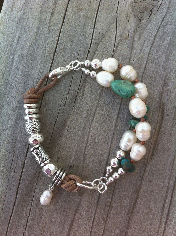 Natural Leather, Turquoise Nugget, Freshwater Pearls, Jasper Rondelles and Silver Beads Bracelet with Copper accents