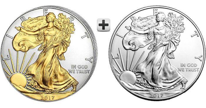 Twee zilveren $1 Amerikaanse arenden 2017 (twee 1 oz.999 zilveren munten): een standaard zilver  één (24K goud) verguld  Controleer mijn profiel: http://ift.tt/2s0TL2r; mijn kopers zijn 100% tevreden zoals je kunt lezen. Bod voor mijn percelen; Ik bied gloednieuwe en mooie producten en professionele logistieke -------------------------------------------------------------------------------------------------------------------------Geen munt kan aanspraak maken op de omvang van de productie en…