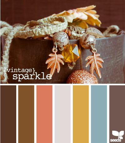 Warm autumn colors... {Vintage Sparkle} palette by Design Seeds, nature, idea, interior, inspiration, colour chart, nature, calm colours