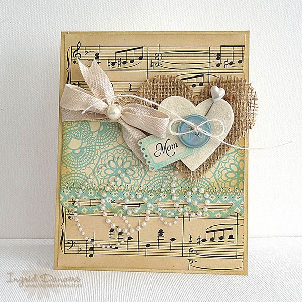 Fabulous Mother's Day card!: Music Cards, Scrapbook Cards, Burlap Cards, Burlap Heart, Vintage Music, Sheet Music, Valentines Cards, Music Sheet, Mothers Day Cards