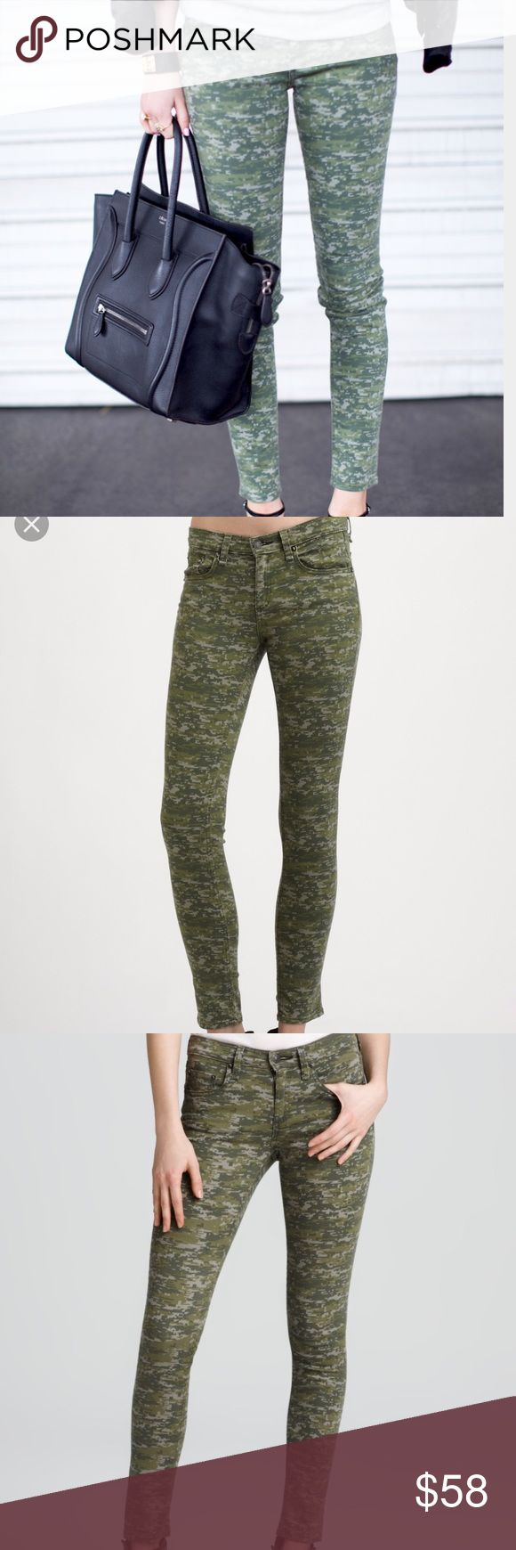 Rag &a Bone Camo Skinny Jeans Soft luxurious denim, perfect condition. Made in USA. Very stretchy(would fit a size 26 or 27) make an offer rag & bone Jeans Skinny