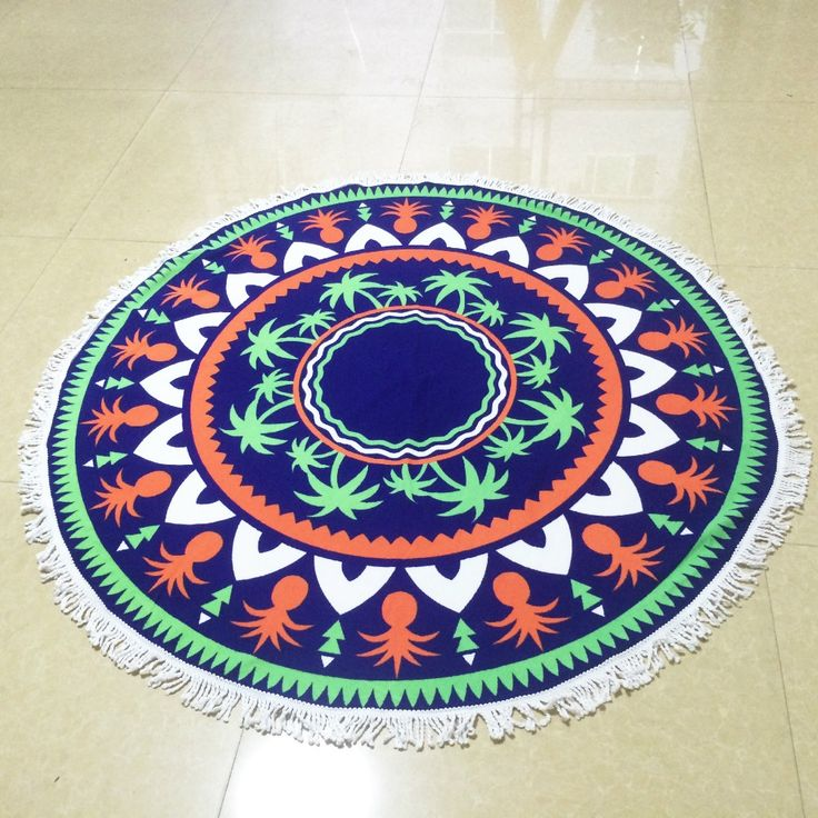 Top sale print With Tassel Circle Beach Towel Summer fashion large Round Stamp fringed beach towel soft comfortable beach towel