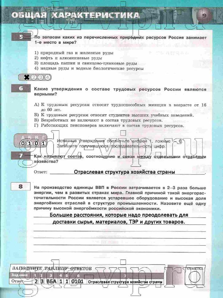 Гдз тетрадь экзаменатор по географии 7 класс ответы кузнецов