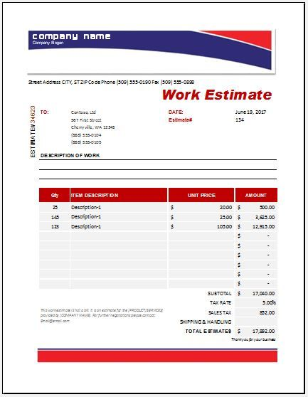 Work Estimate Templates 19 Free Docs Xlsx Pdf Forms Free