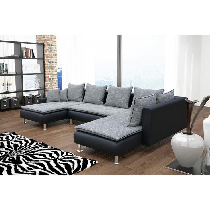 Canapé d'angle convertible en U coloris gris/noir en tissu et simili cuir