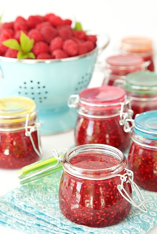 Old Fashioned Raspberry Preserves - so easy and so full of fresh raspberry flavor. These will be like delicious little jars of sunshine on cold winter mornings - and it will take you less than 30 minutes to make six jars of jam!