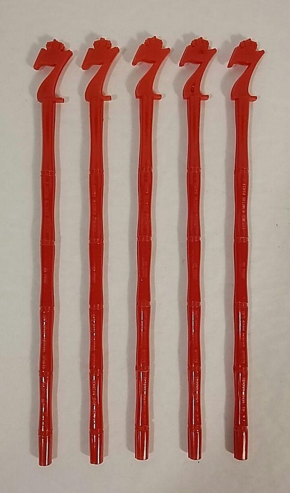 """Lot of 53 Red 6"""" Retro Mid Century Swizzle Sticks Stir Plastic Bamboo Seagram 7"""