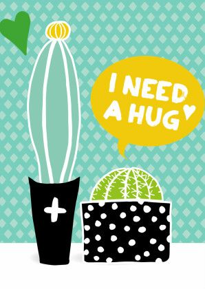 Vrolijke botanische illustratie van 2 cactussen. I need a hug. Design: A Happy Face. Te vinden op: www.kaartje2go.nl