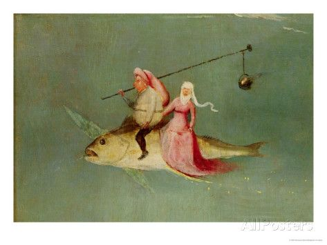 The Temptation of St. Anthony, Right Hand Panel, Detail of a Couple Riding a Fish Giclee Print by Hieronymus Bosch at AllPosters.com