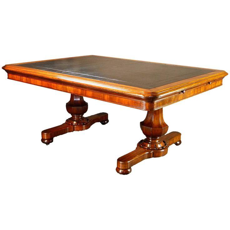 Large 19th Century Irish Writing Table Desk by Williams