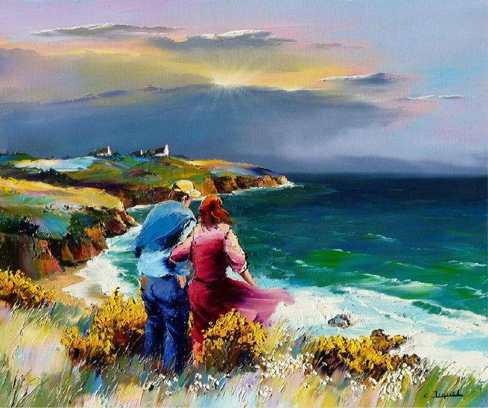 Christian Jequel. Картины мастихином. Falaise en Bretagne. 65х54