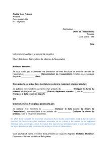 Lettre de demission d une association loi 1901 contrat - Changement de bureau association loi 1901 ...