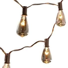 10 light edison style brown patio string lights outdoor string edison. Black Bedroom Furniture Sets. Home Design Ideas