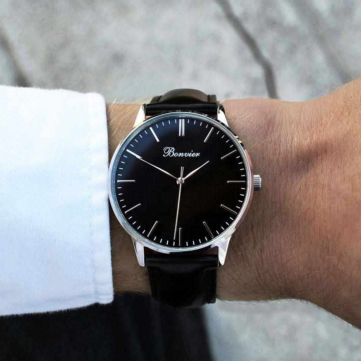 Classic Black/S (40 mm) on the wrist. Free shipping worldwide - www.bonvier.com #bonvier #watches #orologi