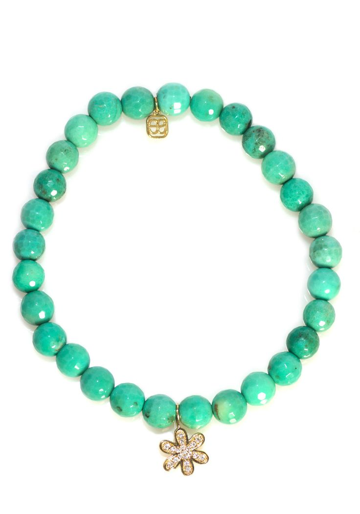 Sydney Evan Green Opal Star Charm Beaded Bracelet